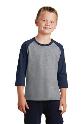 Port & Company Youth 50/50 Cotton/Poly 3/4-Sleeve Raglan T-Shirt